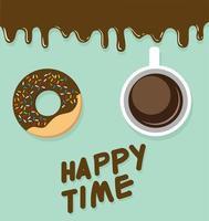 rosquinhas e borda de chocolate pingando, texto de hora feliz vetor