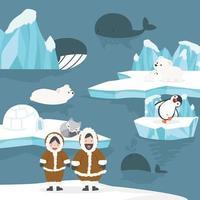 pessoas árticas, ursos, baleias e blocos de gelo vetor