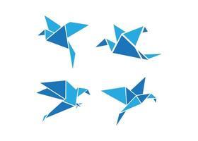 modelo de design de ícone de pássaro de origami