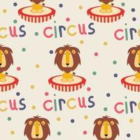 padrão sem emenda de leão de circo vetor