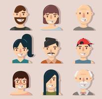 coleção de avatares de desenhos animados felizes e sorridentes vetor
