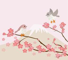 pássaros adoráveis com cerejeira e fundo de montanha vetor