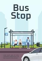 modelo de pôster de parada de ônibus vetor