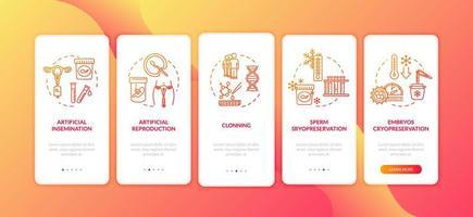 tela de página de aplicativo móvel de integração de tecnologia reprodutiva vetor
