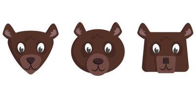 conjunto de cabeças de urso de desenho animado vetor