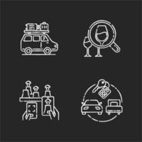 tipos de conjunto de ícones de giz branco de turismo