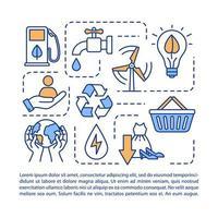 ícone do conceito de consumo responsável com texto. vetor