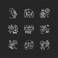 conjunto de ícones de giz branco para descansar e viajar