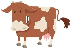 personagem animal de fazenda de vaca leiteira feliz vetor