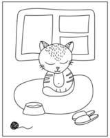 página para colorir com gato fofo no estilo doodle vetor