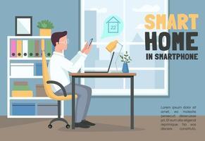 casa inteligente em banner de smartphone vetor