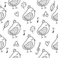 padrão sem emenda com passarinho em estilo doodle vetor