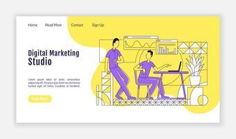 página de destino do estúdio de marketing digital vetor