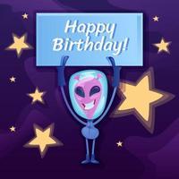 feliz aniversário postagem nas redes sociais vetor