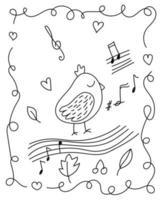página para colorir com passarinho em estilo doodle vetor