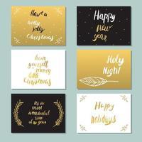 cartões de ouro com letras vetor