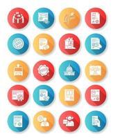 conjunto de ícones de glifo de design plano de serviços notariais.