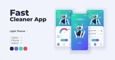 conjunto de modelos de interface de smartphone de desenho animado de aplicativo de limpeza rápida. vetor