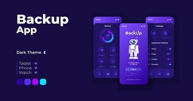 conjunto de modelos de interface de smartphone de aplicativo de backup de backup. vetor