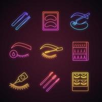 Conjunto de ícones de luz de néon de extensão de cílios. vetor