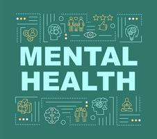 banner de conceitos de palavra de saúde mental. mente saudável e feliz.