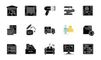 conjunto de ícones de glifo preto para rastreamento de inventário