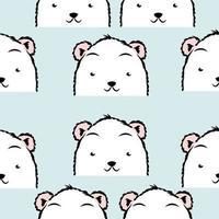 padrão sem emenda de rostos bonitos de urso polar vetor
