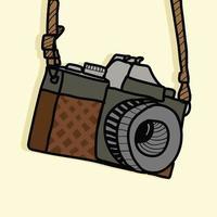 câmera de fotografia retro em estilo desenhado à mão