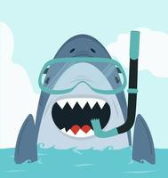 tubarão nadando com equipamento de mergulho