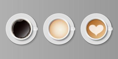 café em xícaras brancas vista de cima vetor