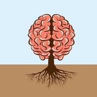 cérebro humano com raízes como uma árvore