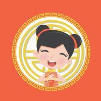 menina chinesa em roupas tradicionais vetor