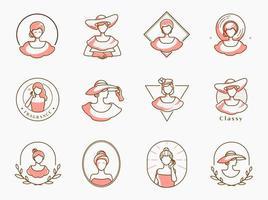 Conjunto de logotipo de beleza madame vetor
