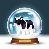 touro em um globo de neve