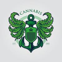 mascote asa de cannabis vetor