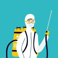prevenção de coronavírus com pessoa em traje anti-risco vetor