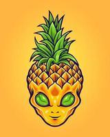 mascote de abacaxi alienígena vetor