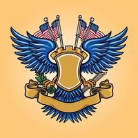 mascote do emblema da bandeira americana vetor