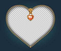 zíper em forma de coração vetor
