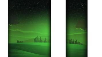 fundo branco e verde com paisagem de inverno colorida vetor