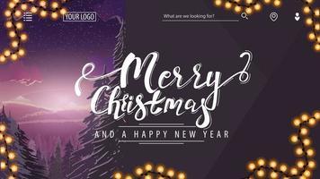 postal de natal roxo moderno com paisagem de inverno