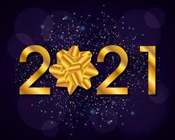 Feliz ano novo, cartão comemorativo de 2021 com laço dourado vetor