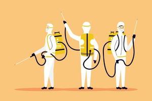 prevenção de coronavírus com pessoas em desinfecção de trajes perigosos vetor