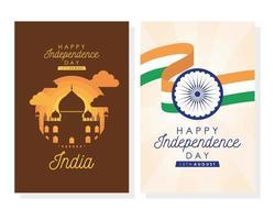 Conjunto de cartazes de celebração do feliz dia da independência da Índia vetor