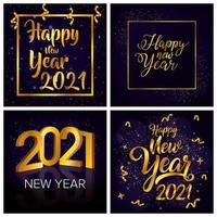 feliz ano novo, conjunto de cartão comemorativo de 2021