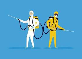 prevenção de coronavírus com pessoas em desinfecção de trajes perigosos