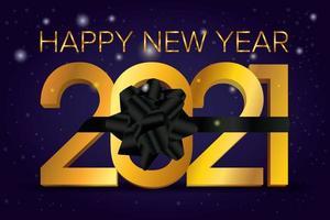 cartão de feliz ano novo, 2021 com fita preta vetor
