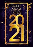 feliz ano novo, celebração do pôster dourado de 2021