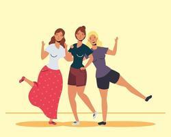 mulheres jovens felizes se abraçando para comemorar o dia da amizade vetor
