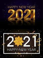 feliz ano novo, conjunto de cartão comemorativo de 2021 vetor